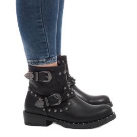 Schwarze Stiefel mit Verschlüssen und Pailletten A8018