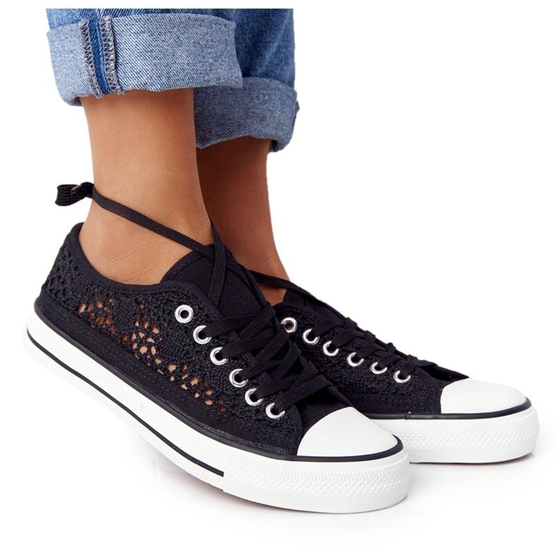 FB2 Schwarze Spitzen Candice Sneakers für Damen