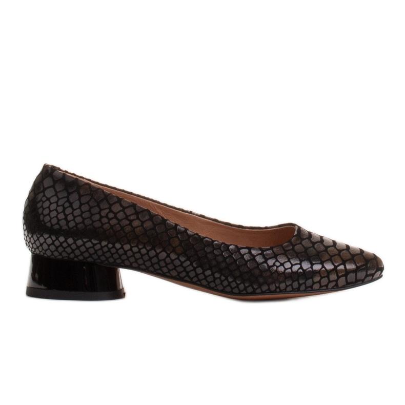 Marco Shoes Ballerinas aus Schlangenleder mit rundem Absatz schwarz
