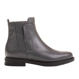 Marco Shoes Leichte Stiefel mit flachem Boden aus Naturleder isoliert grau