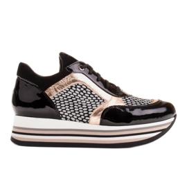 Marco Shoes Leichte Sneaker auf dicker Sohle aus Naturleder schwarz