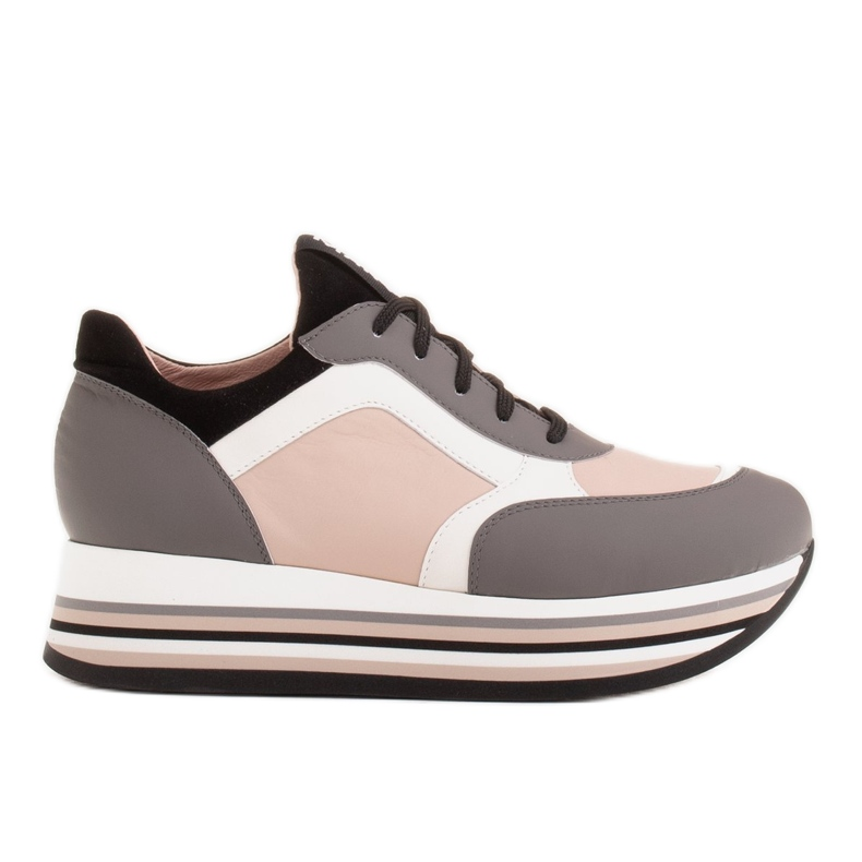 Marco Shoes Leichte Sneaker auf dicker Sohle aus Naturleder grau