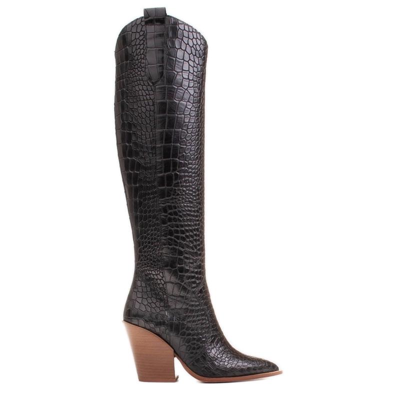 Marco Shoes Hohe Stiefel für Damen Cowboystiefel, Krokomuster schwarz