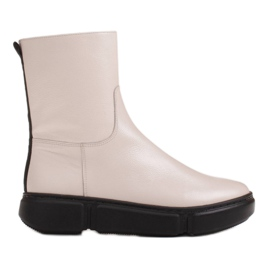 Marco Shoes Sportliche weiße Stiefelette aus weichem Naturleder