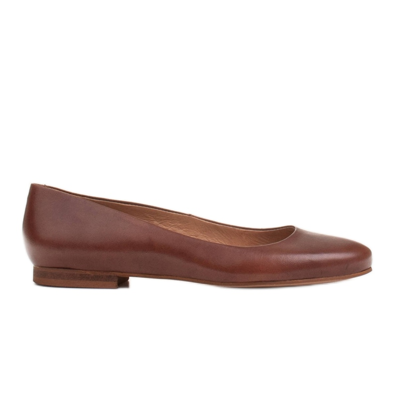 Marco Shoes Ballerinas aus braunem Narbenleder, handpoliert