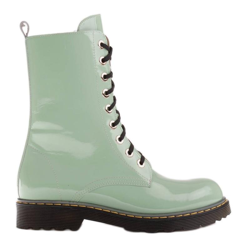 Marco Shoes Hohe Stiefeletten, Stiefel auf einer durchscheinenden Sohle gebunden grün