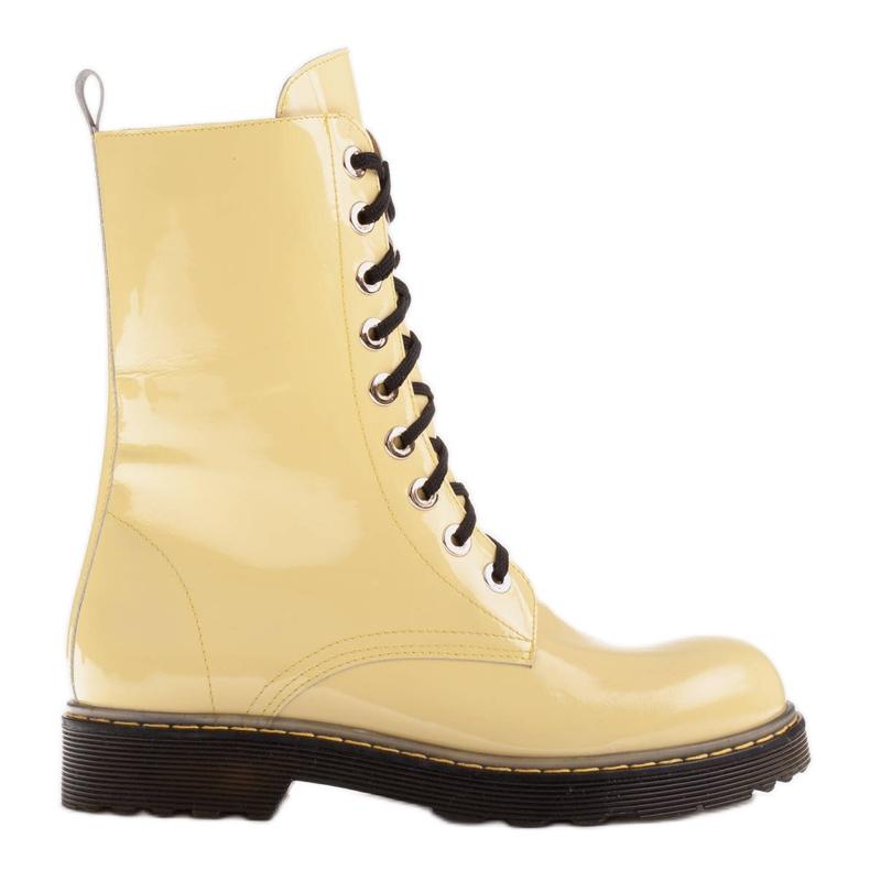 Marco Shoes Hohe Stiefeletten, Stiefel auf einer durchscheinenden Sohle gebunden gelb
