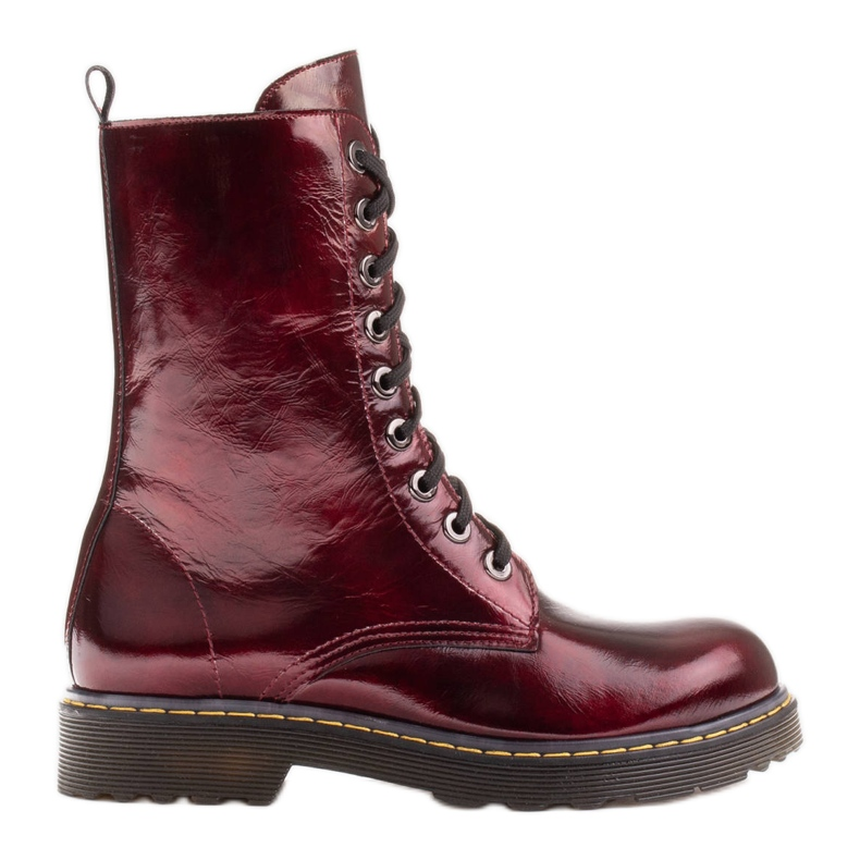 Marco Shoes Hohe Stiefeletten, Stiefel auf einer durchscheinenden Sohle gebunden rot