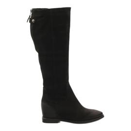 Stiefel mit dekorativem Edeo 3138 Reißverschluss schwarz