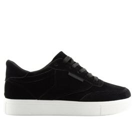 6c2c994d23ba Schwarze Damen Sneakers BS096 BAS-1 Schwarz - ButyModne.pl