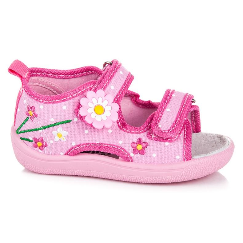 American Club Kinder Velcro Hausschuhe pink