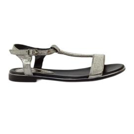 Daszyński grau Sandalen mit flachen Absätzen und Zirkonen