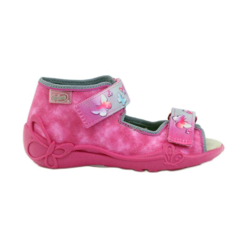 Hausschuhe Befado Sandalen Ledereinsatz pink