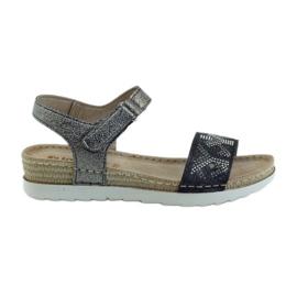 Grau Sandalen komfortabel INBLU Silber-Graphit