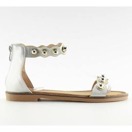 Grau Sandalen mit Silber VS-376 Silber befestigt
