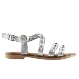 Grau Sandalen mit silbernen M-520 Silber-Nieten