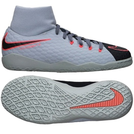 Hallenschuhe Nike HypervenomX Phelon Iii Df Ic Jr 917774-400 grau / silber grau