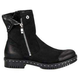 Schwarze Stiefel mit Leder VINCEZA
