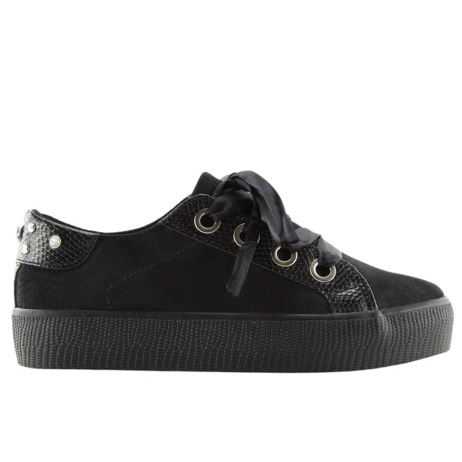7fbec4e7ed2e Schwarze Damen Sneakers BS096 BAS-1 Schwarz
