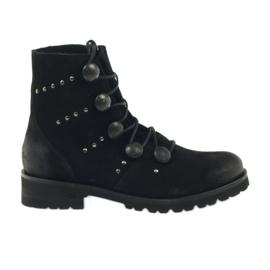 Schwarz Stiefel mit Badura-Knöpfen und Jets verziert