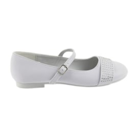 Weiß Pumps Kinderschuhe Communion Ballerinas Strasssteine American Club 11/19