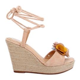 Braun Sandalen mit Keilabsatz YY27P Beige