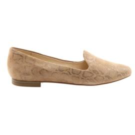 Braun Lordsy Damen Leder Ballettschuhe Caprice 24203 beige