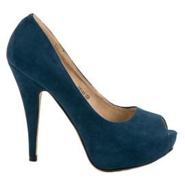 Corina Wildleder Heels offene Zehen blau