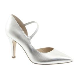Grau Schuhe mit Riemen Caprice 24402 silber