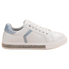 Ideal Shoes weiß Sportschuhe mit Zirkonen