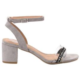 Ideal Shoes grau Stilvolle Wildledersandalen