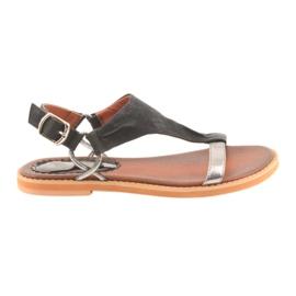 Sandalen mit flachem Absatz Daszyński silber schwarz