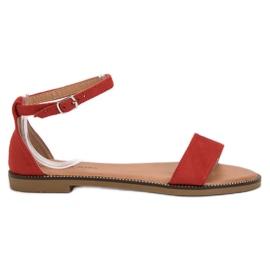 Laura Mode rot Klassische Flache Sandalen