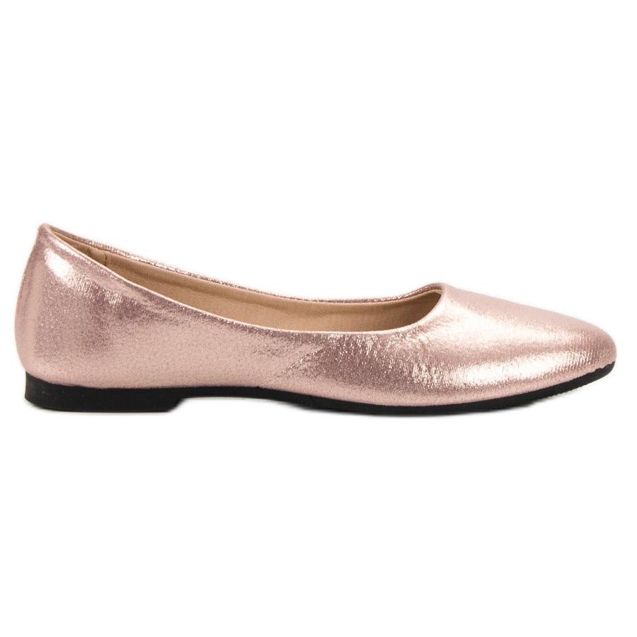 SHELOVET Glänzende Rose Gold Ballerinas pink