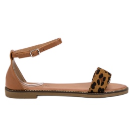 Laura Mode braun Klassische Flache Sandalen