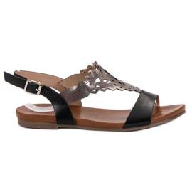 Kylie schwarz Stilvolle flache Sandalen