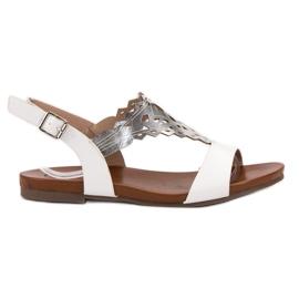Kylie weiß Stilvolle flache Sandalen