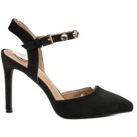 Kylie schwarz Stilettos mit exponierter Ferse