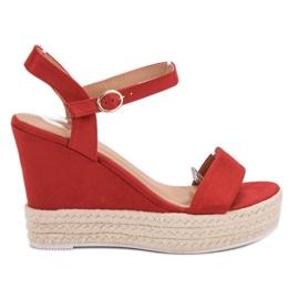 Ideal Shoes rot Stylische Sandalen mit Keilabsatz