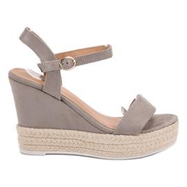 Ideal Shoes grau Stylische Sandalen mit Keilabsatz