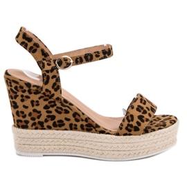 Ideal Shoes braun Stylische Sandalen mit Keilabsatz