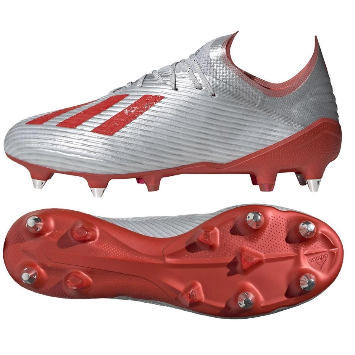 Fussballschuhe Adidas X 19 1 Sg M F35311 Rot Grau Silber Silber
