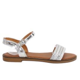 Grau Damen Silber Sandalen K-11 Silber