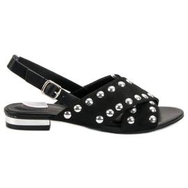 Kylie Schwarze Sandalen mit einer Schnalle befestigt