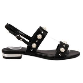 Kylie Bequeme schwarze Sandalen