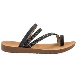 Vinceza schwarz Flip-Flops mit Brokat