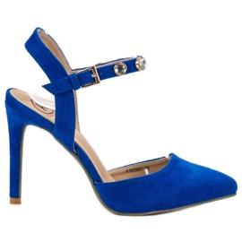 Kylie blau Stilettos mit exponierter Ferse