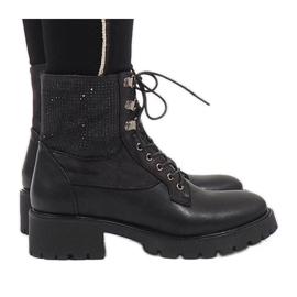 Ideal Shoes Schwarze Schnürstiefeletten mit Pailletten 1621