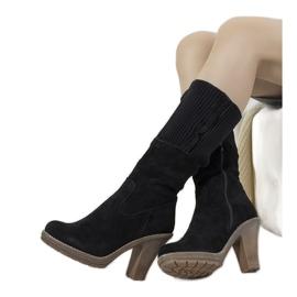 Schwarze Wildleder High Heels 9A0956