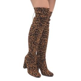 Leopardenstiefel auf dem Pfosten über dem Knie E5116